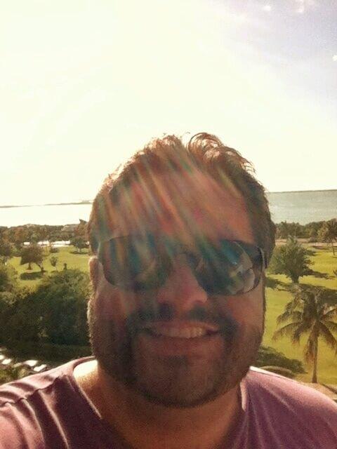 Soaking up the sun in Cancun.